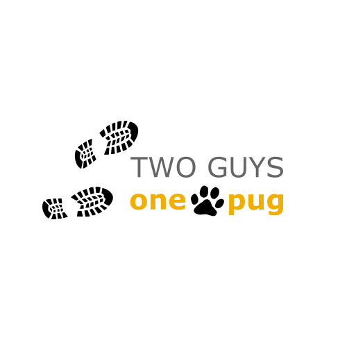 TWO GUYS one pug